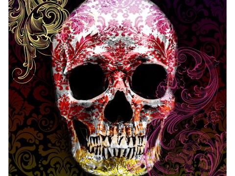 Totenkopf in Farbe
